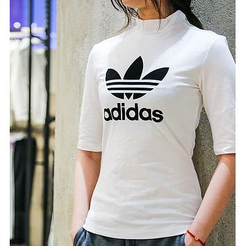 ADIDAS Women Fashion Turtleneck Short Sleeve Shirt Top Tee