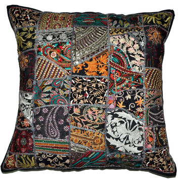 "24x24"" indian patchwork vintage Pillow Cover, ethnic Throw Pillow, Decorative Pillow, Indian Pillow, Pillowcase, Cushion Cover,Floor Pillow"