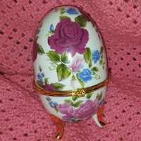 Faberge Style Egg Casket Box, Tinket / Jewelry Box, Ring Holder Yellow and Gold Three Footed Porcelain Egg with Flowers