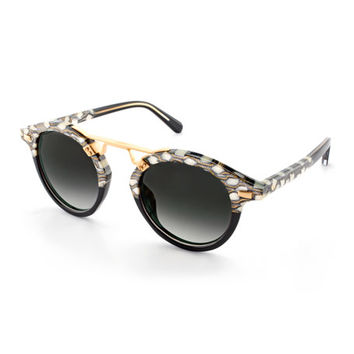 KREWE STL II Two-Tone Round Acetate Sunglasses, Black Pattern
