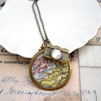 The Traveler Charm Necklace - Paris London Map with Camera Charm