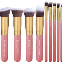 14pc Kabuki Makeup Brush Set Cosmetics Beauty Foundation Blending Contouring