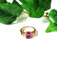 Vintage Square Purple Rhinestone Ring Gold  Size 5