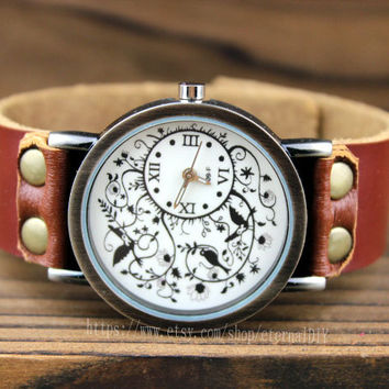 Brown leather  branches of the bird charm women watch  unique watch