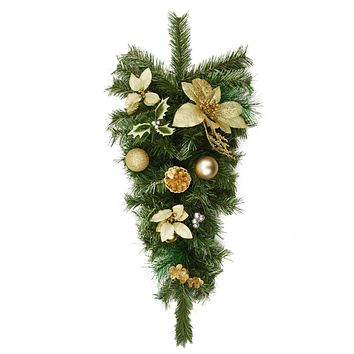 "32"" Pre-Decorated Gold Poinsettia  Pine Cone and Ball Artificial Christmas Teardrop Swag - Unlit"