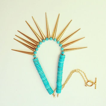 SUMMER SALE, Turquoise Gold Spike Necklace - Tribal Warrior - Egyptian Statement Spring  Jewelry