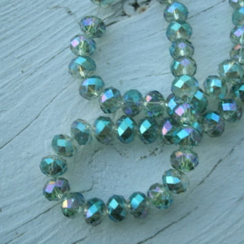 Swarovski Crystal Bead Strand - light peacock AB color,72 beads, full strand,  beads, crystal beads, faceted, bead supply, jewelry supply
