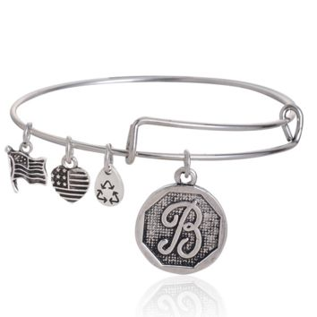 "Alex and Ani style  letter ""B"" pattern pendant charm bracelet,a perfect gift !"