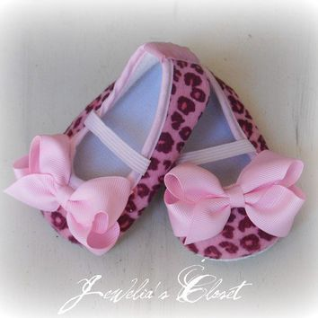 Pink Cheetah Print Baby Shoes Ballet Flats with by Jeweliascloset
