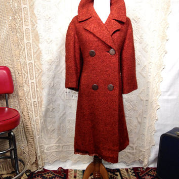 Sale !!! 1960s LEEDS OF BOSTON Burnt Orange Herringbone Wool Swing Coat / Boucle Wool Double Breasted Swing Jacket / Size M