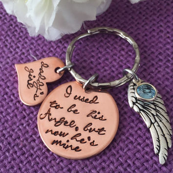Memorial Jewelry - I used to be his angel, now he's mine - memorial Keychain - Daddys girl keychain - Dad remembrance - Sympathy Gift - RIP