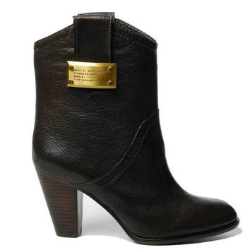 """marc jacobs almond toe 2"""" heel pull-on ankle boot w/ tabs 606846-006 