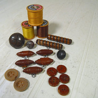 Vintage Variety of Leather & Wood Buttons Collection - 17 Buttons for Repurposing Upscaling Upcycling Sewing, Craft Mixed Media Projects