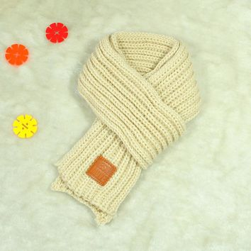 10*110cm Lovely Autumn Winter Boys Girls Baby Kid Solid Scarf Warm Knitted Scarves