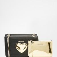 Love Moschino Bag with Gold Metallic Heart and Detachable Purse