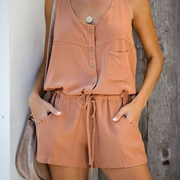Settle Down Pocketed Button Down Romper - Rust