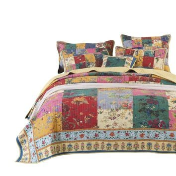 Tache Paradise Medley Multi-Colorful Patchwork Quilted Bedspread Set (JHW-814)