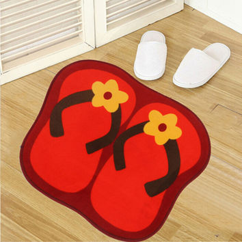 Cute Slippers Non Slip Bath Mat Home Carpet Microfiber Chenille Bathroom Mat and Toilet Rug Bedroom Door Carpet U0424