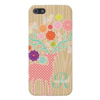 Girly Cute Deer & Flowers Wood Modern Monogram from Zazzle.com