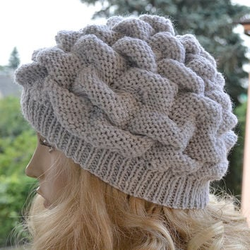 Women's Hat Winter light gray Women Hat Slouchy Beanie Slouchy Hat Winter Hat Slouch Beanie Knit Winter Hats Women Slouchy Beanie
