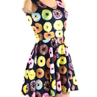 Donut Print Tank Style Fit and Flare Skater Dress