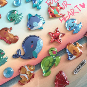cute sea animal sticker underwater theme sea turtle blue whale seahorse 3D sticker little fishes starfish deep blue sea bubble sticker gift