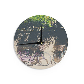 "Laura Evans ""Pretty Bicycles"" Brown Green Wall Clock"