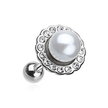 Pearl Blossom Sparkle Cartilage Tragus Earring Helix 18ga Surgical Steel