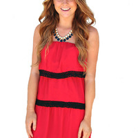 Crochet Layered Game Day Dress - Scarlet
