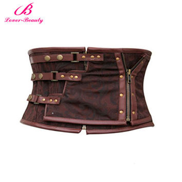 Lover Beauty Steampunk Corset Brown Zipper Waist Training Corsets and Bustiers Lace Up Underbust Corset Top Steel Boned Corselet