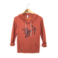 Tribal Arrow - Hand Stenciled Slouchy Scoop Neck Lightweight Pullover Hoodie Sweatshirt in Eco Heather Red Clay and Black - S M L XL
