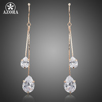 Azora Trendy Copper Cubic Zirconia Drop Earrings Women Te0243