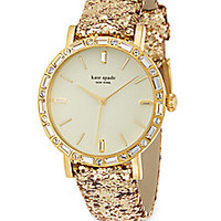 Kate Spade New York - Metro Grand Pavé Goldtone Stainless Steel & Interchangeable Glitter Leather Strap Watch - Saks Fifth Avenue Mobile