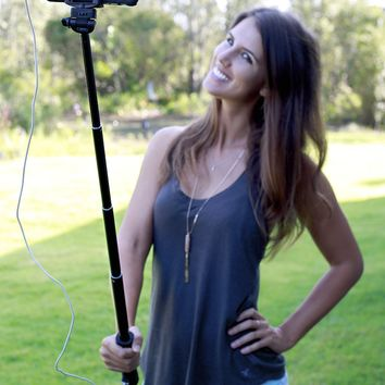 The SmartStik trade Selfie Stick Built-In 2200 mAh Powerbank for Charging Your Smartphone, Integrated LED Torch, Advanced Wireless Bluetooth Built-In Shutter Extendable Self Portrait Camera Monopod
