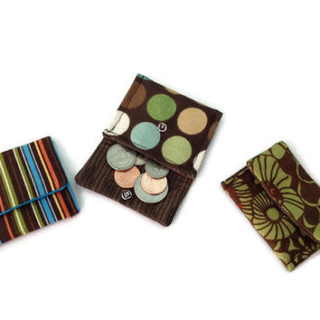 Earthy and Brown Trio of Teeny Pockets Jewelry Pouches Gift Set of Three