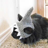 Knit Cat Shark Hat - Crochet Shark Hat for Cats -  Halloween Costume for Cats - Costume for Kittens - Cat Photo Shoot - Cat Lover Gift