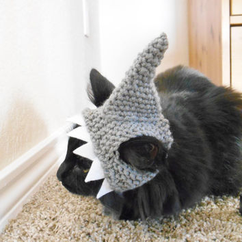 9ab85edfcbd Knit Cat Shark Hat - Crochet Shark Hat for Cats - Halloween Cos