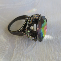 Watermelon Stone Solitaire Ring, Rhinestone crosses, Japanned Setting, Vintage Goth Style