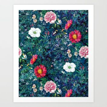 Spring Flowers Dark Art Print by RIZA PEKER