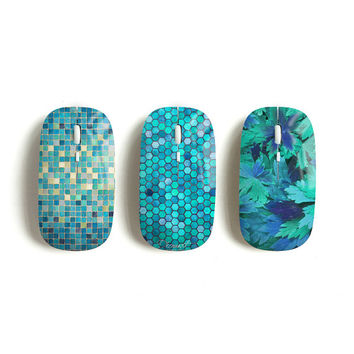 Mint wireless mouse, mosaic, hexagon, floral