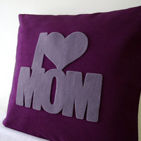 I Love Mom Plum And Grey Pillow Cover. Special Christmas Gift. Nursery Decor. Color Choice