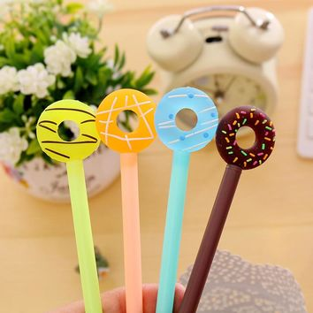 0.38mm Cute Kawaii Donuts Gel Pens Lovely Candy Color Pen For Kids Stationery Gift School Supplies Free Shipping 2152