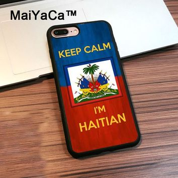 MaiYaCa Keep calm I'm Haitian Haiti Flag  Phone Cases For Apple iPhone 8 Plus Soft Rubber Back Cover For iPhone 8 Plus Shell