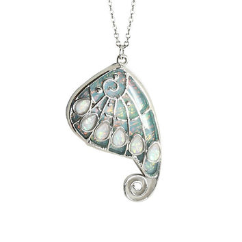 Blackheart Opal Wing Charm Necklace