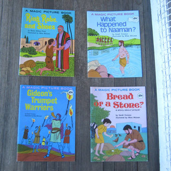 Vintage Bible Activity Books - Children's Bible Learning Books; Cute Illustrations - Bible Study Magic Picture Books - Christian School