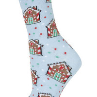 Gingerbread House Socks - Pale Blue