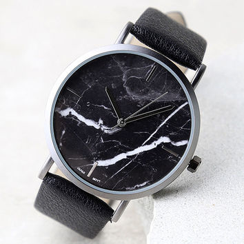 Clock Out Black Marble Watch