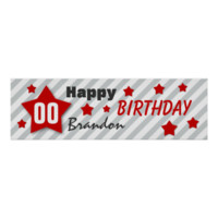 ANY YEAR Birthday Star Banner STRIPES RED STARS 3 Print