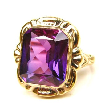 Emerald Cut Purple Sapphire Ring 6.00ct Alternative Art Deco Engagement Ring 10K Yellow Gold Antique Wedding Ring February Birthstone Ring