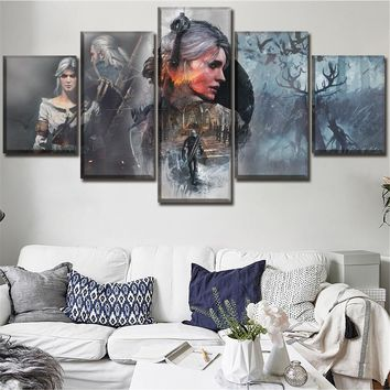 Wall Art Home Decor Modular Picture One Set Game Poster 5 Pieces High Quality Canvas Print The Witcher 3 Wild Hunt Painting